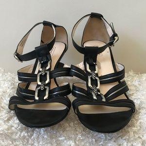 Coach Blake Black Leather Strappy Sandals
